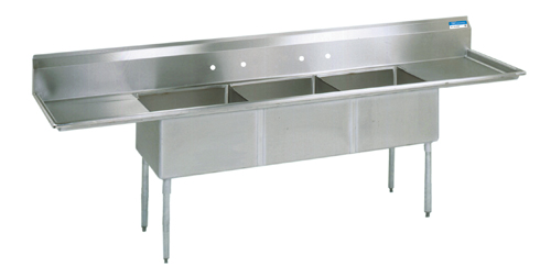 """BK Resources BKS-3-1824-14-24T Three Compartment Sink S/S w/ 18x24x14""""D Bowls & 2 Drainboards"""