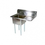 """BK Resources BKS-1-1824-14-24L Stainless 1 Compartment Sink w/ 18x24x14""""D Bowl & Drainboard"""