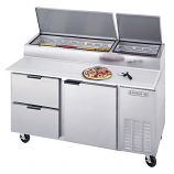 Beverage Air DPD67-2 One Door, Two Drawer Pizza Prep Table - 67""