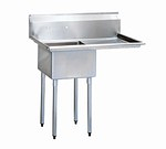 """BK Resources BKS-1-1824-14-24R One Compartment Sink with Right Side 24"""" Drainboard"""