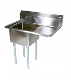"""BK Resources BKS-1-18-12-18R One Compartment Sink, 18 x 18 x 12"""" deep bowls, (1) 18"""" Right Drainboard"""