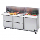 Beverage Air SPED72-08C-4 Refrigerated Salad-Sandwich Prep Table with Cutting Board and Drawers 72""