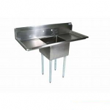 """BK Resources BKS-1-18-12-18T Stainless 1 Compartment Sink 18""""x18""""x12""""D w/ 2 Drainboards"""