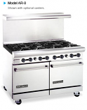 "American Range AR-8 48"" Wide Restaurant Ranges with (Two 20"" Wide Ovens) or (One 26½"" Wide Oven & Storage Base)"