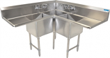 BK Resources BKCS-3-18-14-24T Three-Compartment Corner Sink, Left and Right Drainboards